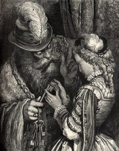 Illustration of Bluebeard by Gustav Doré, public domain on Wikimedia Commons