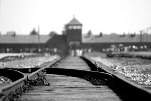 Picture of rail line in front of Auschwitz-Birkenau concentration camp