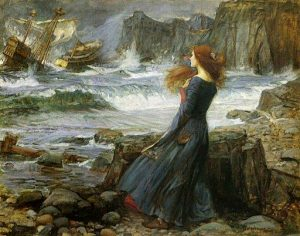 painting of a woman standing by a rocky shore with a broken ship on the water in the distance, during a storm