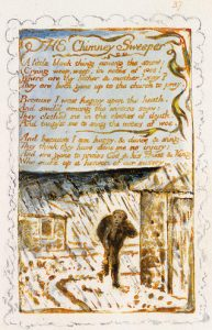 "Blake's poem ""The Chimney Sweeper"" from Songs of Experience, along with the engraving of a boy chimney sweeper in the snow"