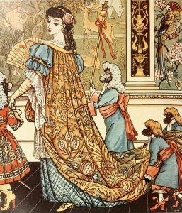 Drawing of a woman with ornate gown being carried by monkeys dressed as humans