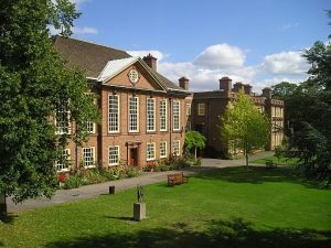 A building and lawn of Somerville College at Oxford University