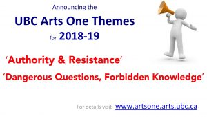 UBC Arts One Themes for 2018-19