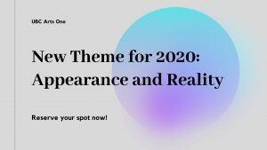 New Theme for 2020: Appearance and Reality